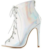 Charlotte Russe Holographic Lace-Up Peep Toe Booties
