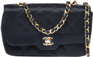 Chanel Black Quilted Satin Mini Vintage Flap Bag