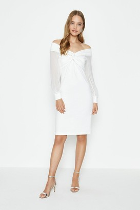 Coast Sheer Sleeve Ponte Twist Bardot Dress