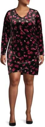 Design Lab Plus Long-Sleeve V-Neck Velvet Ruched Dress