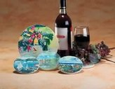 Unknown Seashore Multi Sandstone Wine Trivet 7 In. Dia., Coaster Set 4 In. Dia