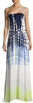 Young Fabulous and Broke Lively Smocked Strapless Maxi Dress, Blue Pattern