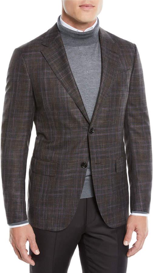Ermenegildo Zegna Men's Two-Tone Plaid Two-Button Jacket, Purple/Brown
