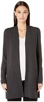 Eileen Fisher Ultrafine Merino Simple Long Cardigan (Charcoal) Women's Sweater