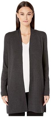 Eileen Fisher Ultrafine Merino Simple Long Cardigan (Charcoal) Women's Sweater