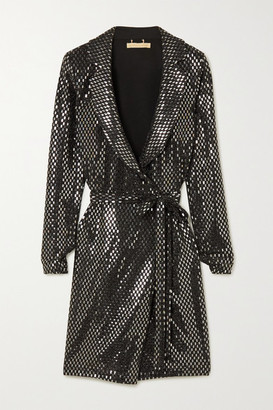 Melissa Odabash Fallon Embellished Woven Wrap Mini Dress - Gunmetal