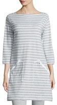 Joan Vass Striped Interlock Tunic, Gray/White, Plus Size
