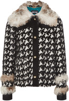 Just Cavalli Faux fur-trimmed twill coat