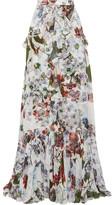 Erdem Alison Ruffled Floral-print Silk-voile Maxi Skirt - White