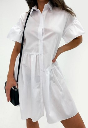 Missguided White Tiered Shirt Smock Dress