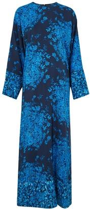 Valentino Navy floral-print crepe de chine maxi dress