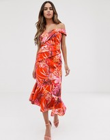 Lipsy bardot scuba dress with pleated detail in floral print