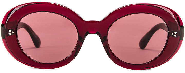 Oliver Peoples Erissa Sunglasses in Deep Burgundy & Damson | FWRD
