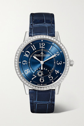 Jaeger-LeCoultre Rendez-vous Night & Day 34mm Medium Automatic Stainless Steel, Alligator And Diamond Watch - Silver