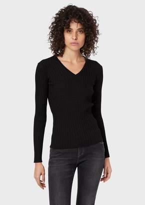 Emporio Armani Ribbed V-Neck Sweater With Stockinette-Stitch Maxi Logo