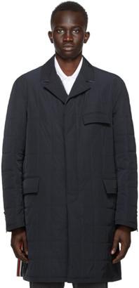 Thom Browne Navy Down RWB Stripe Chesterfield Coat