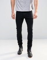 Asos Super Skinny Longline Stacker Jeans In Black