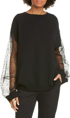 ADAM by Adam Lippes Lace Sleeve Merino Wool Blend Sweater