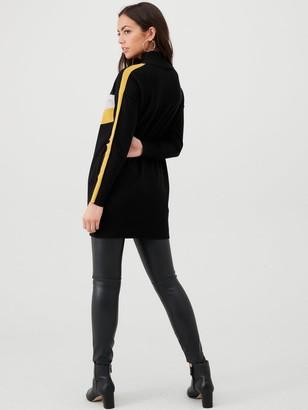 Wallis Chevron Stripe Sleeve Tunic - Black