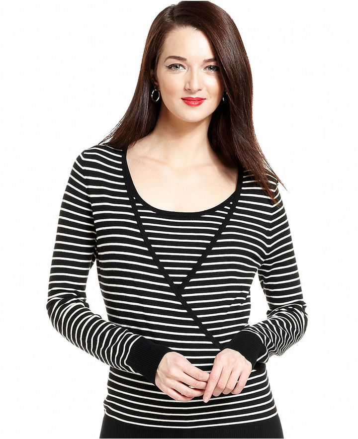 Charter Club Long-Sleeve Striped Layered Top