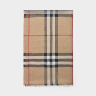 Burberry Giant Check Gauze Scarf In Camel Wool And Mulberry Silk