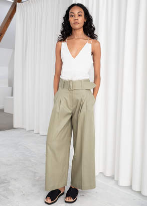And other stories High Waisted Belted Flare Pants