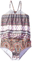Seafolly Moroccan Paisley Blouson Tank One-Piece Girl's Swimsuits One Piece