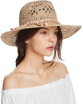 Aqua Boho Straw Fedora with Rope Trim - 100% Exclusive