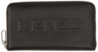 Kenzo Black Zip Long Imprint Continental Wallet