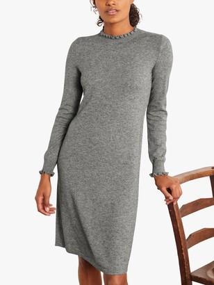 Boden Lara Knitted Knee Length Dress, Dark Grey Melange
