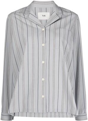 Folk Pyjama-Stripe Long-Sleeve Shirt