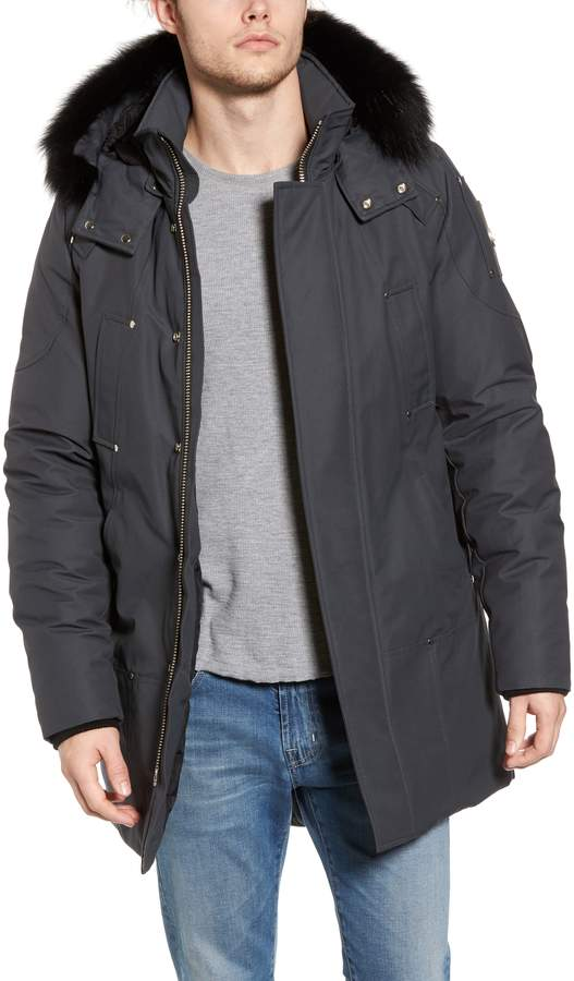 Moose Knuckles Stirling Water Repellent Down Parka with Genuine Fox Fur Trim
