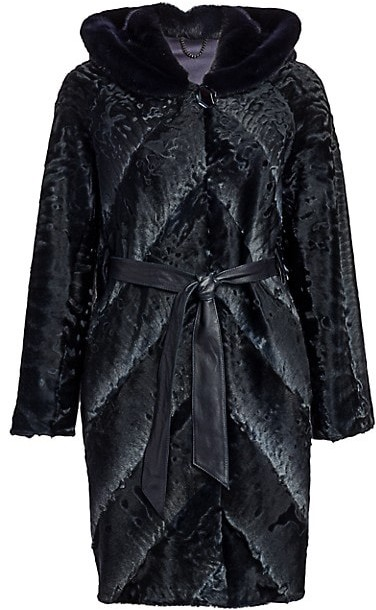 Thumbnail for your product : The Fur Salon Lamb & Mink Fur Belted Coat