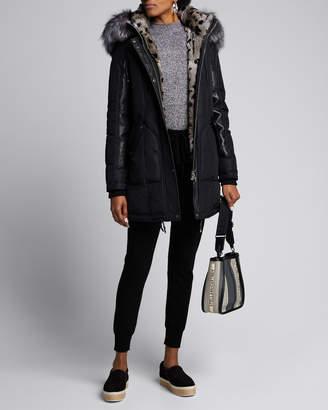 Nicole Benisti Chelsea Intarsia Fur-Lined Coat