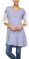 Gray Lace-Sleeve Scoop Neck Tunic - Plus Too