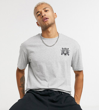 Jack and Jones Originals oversize t-shirt with tiger back print in gray Exclusive to ASOS