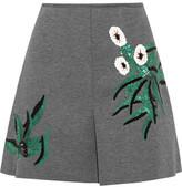 Marni Pleated Sequin-Embellished Bonded-Jersey Mini Skirt