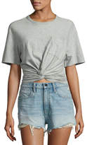 Alexander Wang Heathered Jersey Twist-Front Tee, Gray