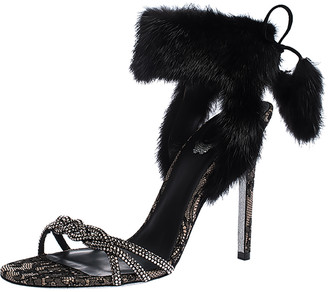 Rene Caovilla Black Fur And Crystal Embellished Ankle Cuff Sandals Size 39