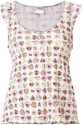 Chanel Pre Owned heart print T-shirt
