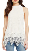 Soulmates Lace High-Neck Crochet Fringe Tank Top