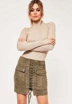 Missguided Petite Faux Khaki Suede Lace Up Mini Skirt