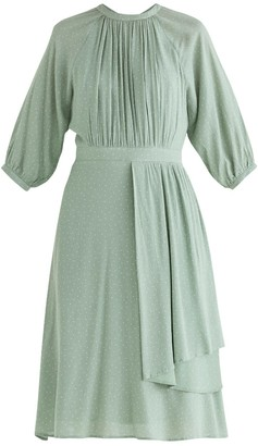 Paisie Bond Polka Dot Midi Dress In Mint Green