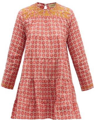 Muzungu Sisters - Lily Embroidered Geometric-print Cotton Dress - Womens - Pink Multi