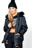Boohoo Plus Louise Bomber Jacket With Faux Fur Hood