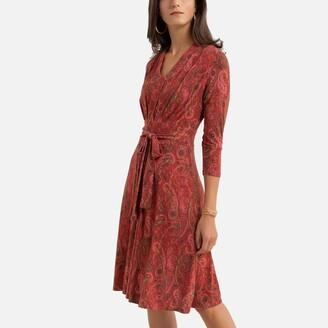 Anne Weyburn Printed Tie-Waist Dress