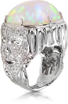Bernard Delettrez Drama Masks Gold Pave Ring w/Opal and Diamonds