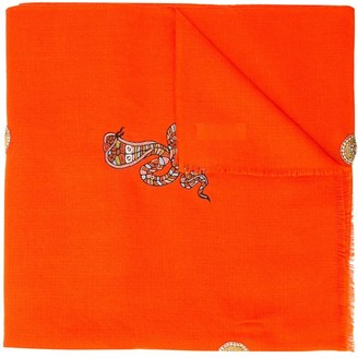 Janavi Snake Embroidered Scarf