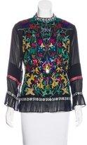 Nicole Miller Artelier Silk Leather-Paneled Top w/ Tags