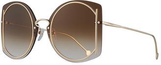 Salvatore Ferragamo Gancio Rimless Butterfly Sunglasses